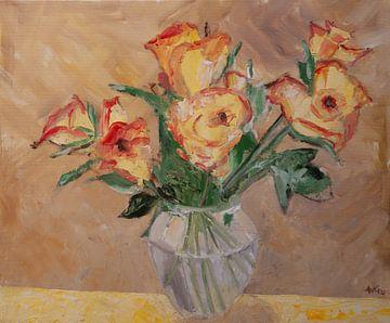 Gele rozen met een rood randje. van Antonie van Gelder Beeldend kunstenaar