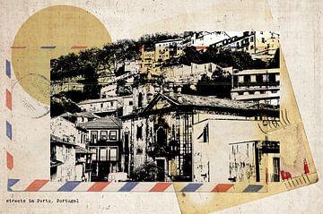 stijlvolle retro ansichtkaart van Porto van Ariadna de Raadt