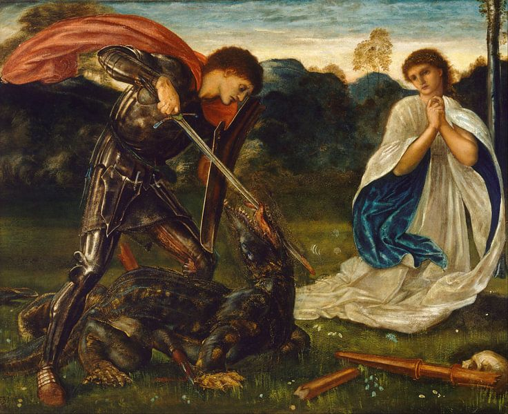 Edward Burne-Jones - The fight- St George kills the dragon van 1000 Schilderijen