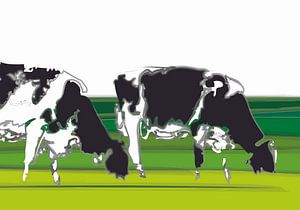 Koeien in minimalistisch landschap van