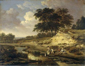 Landschap met een ruiter die zijn paard drenkt, Jan Wijnants