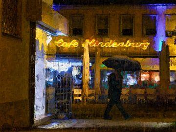 Cafe Hindenburg an einem regnerischen Abend in Speyer