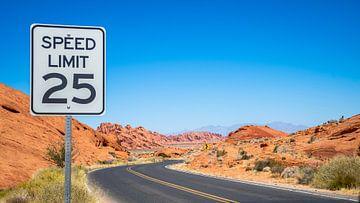 Typische Amerikaans wegen landschap(woestijn) van Jeroen Somers