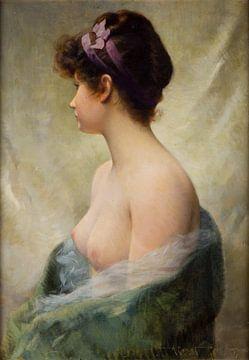 Nacktes brünettes Modell mit lila Schleife - Albert Joseph Penot von Atelier Liesjes