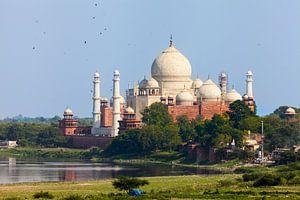 Taj Mahal mit Yamuna im Vordergrund