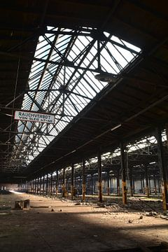 verlassene Fabrikhalle in einem ehemaligen Industriegebiet in Magdeburg von Heiko Kueverling