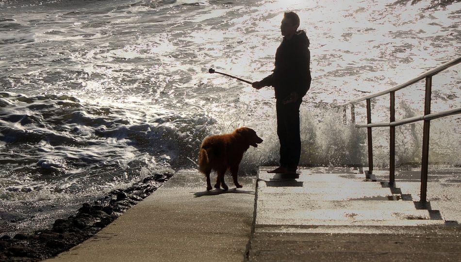 Man en hond aan de kust
