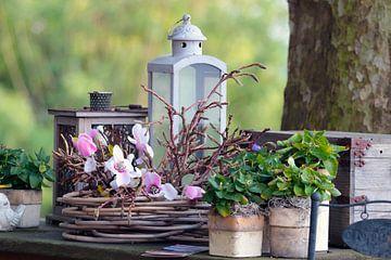Stilleven met lantaarn, bloemen, planten en een kistje van Ronald Smits