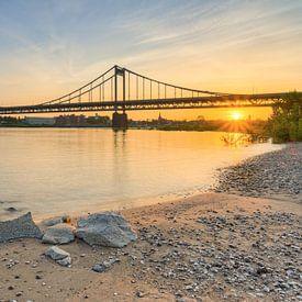 Sur la plage du Rhin près du pont du Rhin Krefeld-Uerdingen sur Michael Valjak