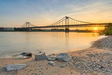 Sur la plage du Rhin près du pont du Rhin Krefeld-Uerdingen