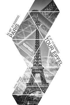 Coördinaten PARIS Eiffeltoren | monochroom van Melanie Viola