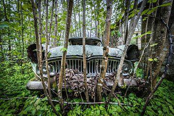 Vieille voiture dans la forêt sur Inge van den Brande