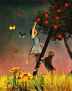 Kinderen Kunst: Samen appels plukken