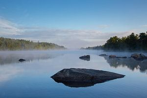 Meer in zuid Zweden, vroeg in de ochtend, met rost in het water van Joost Adriaanse