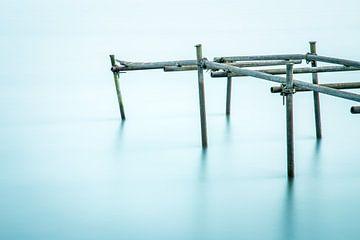 Oude kapotte steiger in de rivier van Jan van der Vlies