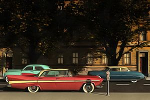 Een straat met oldtimers in New York