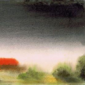 Landschap met huis in de mist / onweer - aquarel geschilderd door VK (Veit Kessler) van ADLER & Co / Caj Kessler