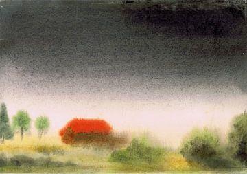 Landschap met huis in de mist / onweer - aquarel geschilderd door VK (Veit Kessler)