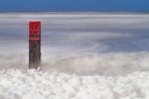 Strandpaal 14 op het strand van Ameland