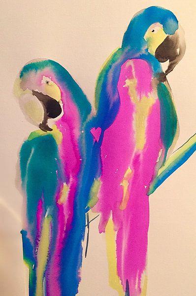 Papagei Liebe von Helia Tayebi Art