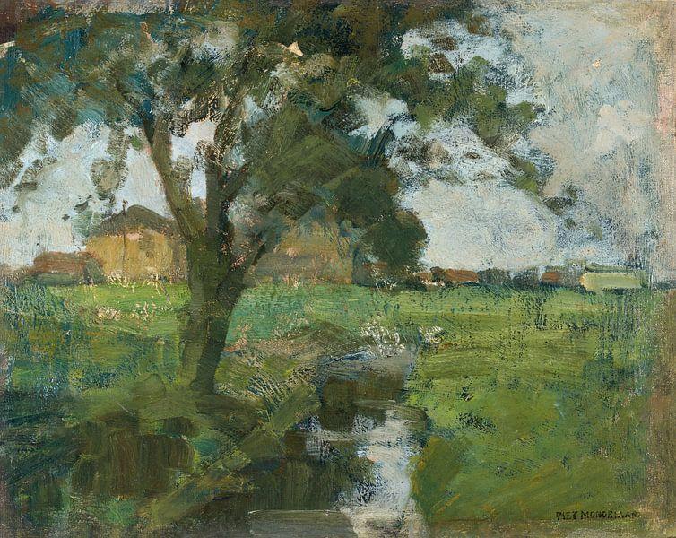 Farm Einstellung mit Vordergrund Baum und Bewässerung Graben, Piet Mondrian von Meesterlijcke Meesters