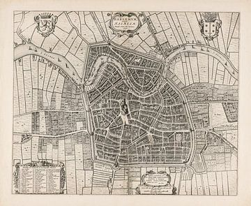 Ancienne carte de Haarlem, vers 1657, avec cadre blanc sur Gert Hilbink