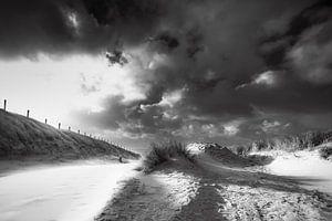 kustlijn strand en duin met veel wind van