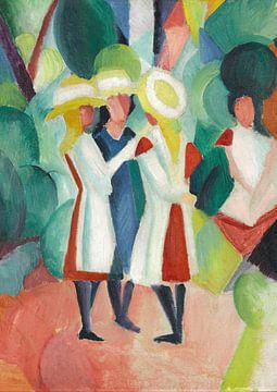 Trois filles aux chapeaux de paille jaunes, August Macke