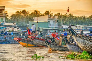 Schwimmender Markt Mekong von Richard van der Woude
