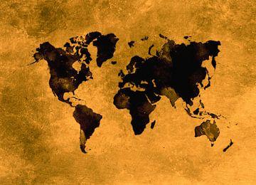 Weltkarte schwarz orange #Karte #Weltkarte von JBJart Justyna Jaszke