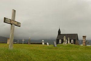 Het beroemde zwarte kerkje in Budir, IJsland