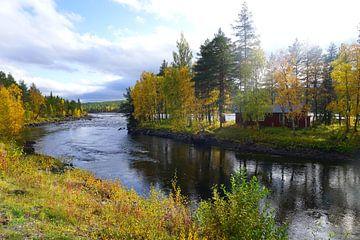 Haus auf Insel im Fluss in Schweden von Thomas Zacharias