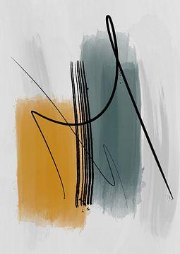 Abstract schilderij met inkt en verfstrepen 4 van Romee Heuitink