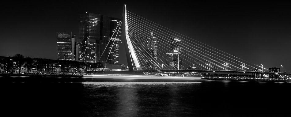 Erasmusbrug bij nacht van Dave van Dokkum