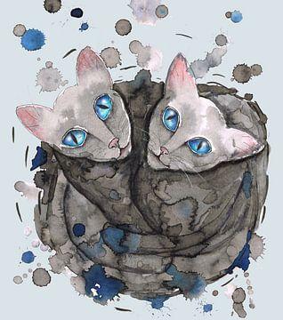 Twee grijze kattenzusjes van Bianca Wisseloo