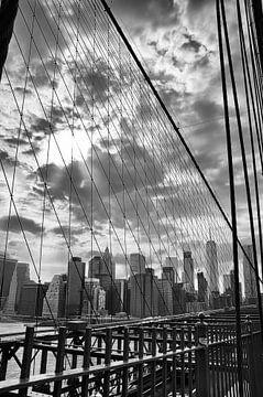 Skyline New York vanaf de Brooklyn Bridge von Karin Mooren