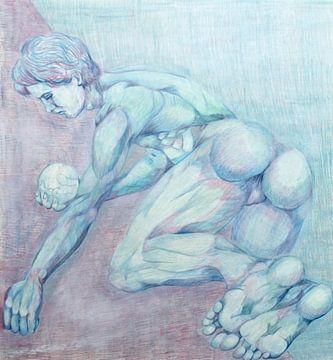 Tekening van een persoon met een bal. van Therese Brals