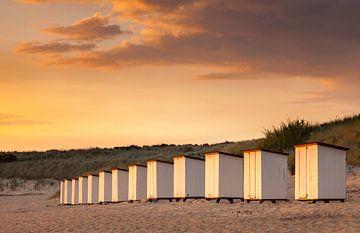 Coucher de soleil sur la plage Breskens Pays-Bas sur Peter Bolman