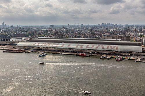 Skyline Amsterdam met Centraal Station van