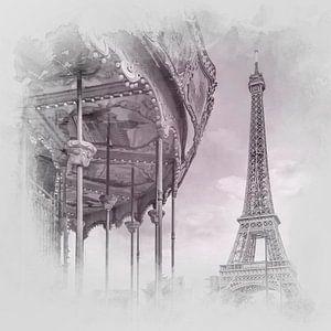 Typisch Parijs   aquarel style-grijs/roze