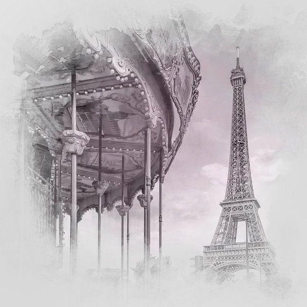 Typisch Parijs   aquarel style-grijs/roze van Melanie Viola