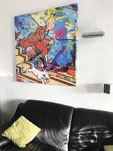 Kundenfoto: Tintin und Bobbie von der Treppe von Frans Mandigers, auf leinwand