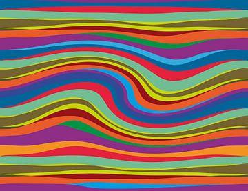 Abstracte kleurrijke grote golf gemaakt op de computer van Jolanta Mayerberg