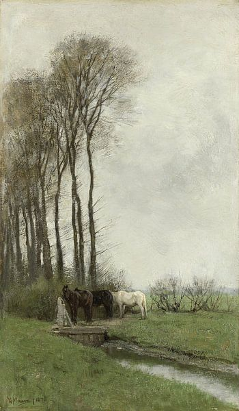 Pferde am Zaun, Anton Mauve von Meesterlijcke Meesters