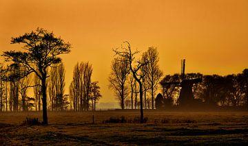 Mist en zonsondergang van