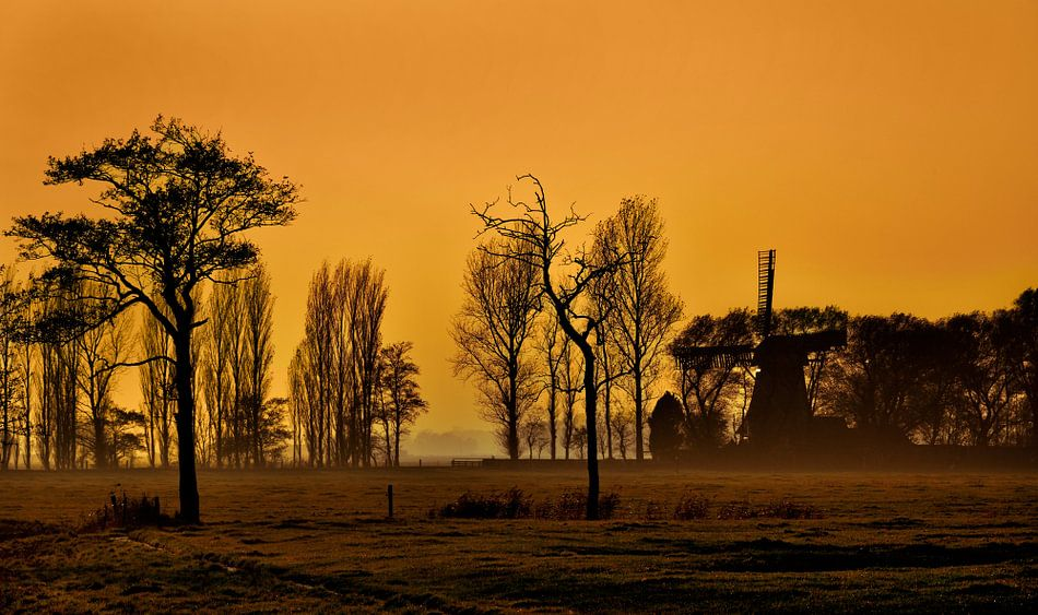 Mist en zonsondergang