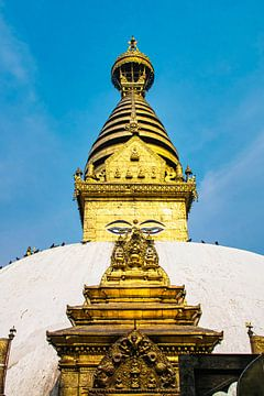Stoepa van Swayambhunath, Kathmandu, Nepal van Rietje Bulthuis
