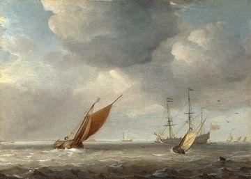 Kleine Nederlandse schepen in een briesje, atelier van Willem van de Velde