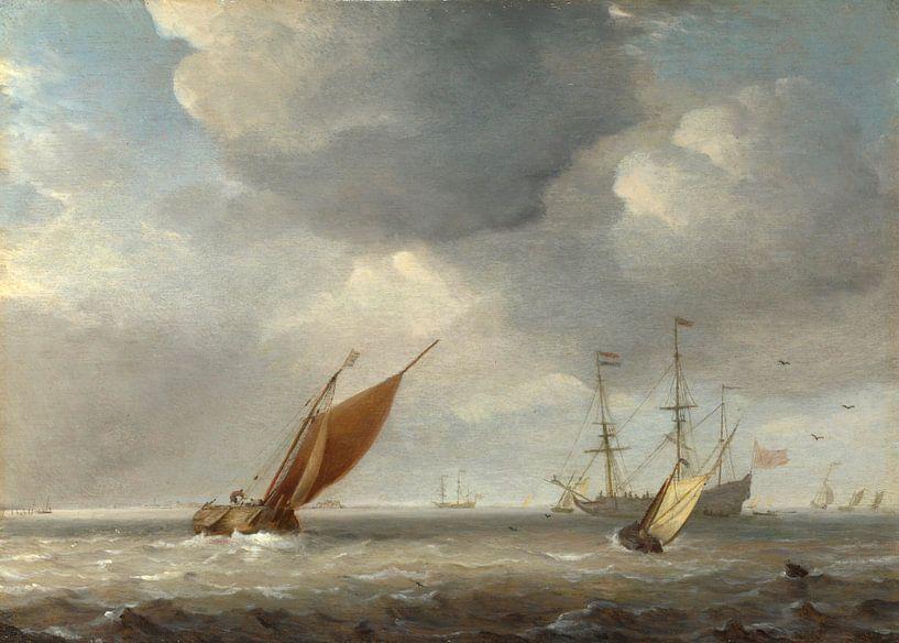 Kleine niederländische Schiffe im Wind, Studio von Willem van de Velde von Meesterlijcke Meesters