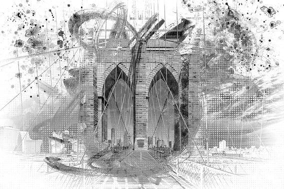 City Art Brooklyn Bridge in de details   grijs van Melanie Viola